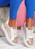 Joba Pink Croc Pattern Trainers