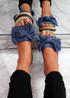 Sally Blue Bow Flat Sandals