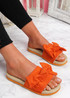 Sally Orange Bow Flat Sandals