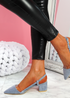 Koza Blue Low Block Heel Pumps