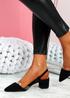 Koza Black Low Block Heel Pumps