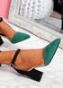 Amma Green High Block Heel Pumps