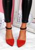 Amma Red High Block Heel Pumps