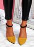 Amma Yellow High Block Heel Pumps