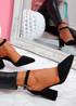 Pamma Black Ankle Strap Pumps