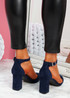 Pamma Blue Ankle Strap Pumps