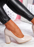 Nivy Beige Block Heel Court Pumps