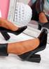 Nivy Black Block Heel Court Pumps