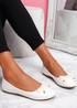 Lidda White Croc Ballerinas