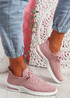 Joby Pink Lace Knit Trainers