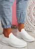 Penna White Knit Slip On Trainers