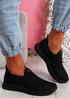 Stonna Black Knit Slip On Sneakers