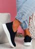 Stonna Navy Knit Slip On Sneakers