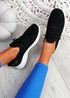 Pobba Black Knit Running Trainers