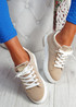 Jozy Beige Lace Up Trainers