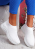 Howa White Knit Slip On Trainers