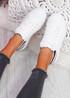 Pofy White Black Croc Pattern Trainers