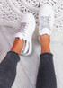 Pofy White Silver Croc Pattern Trainers