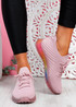 Nolly Pink Knit Rainbow Trainers