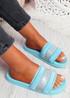 Nitto Blue Diamante Studded Flat Sandals
