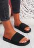 Soha Black Flat Sandals Sliders