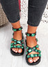 Shoya Black Rhinestone Chunky Sandals