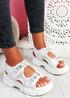 Aleha White Rhinestone Chunky Sandals