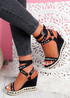 Numy Black Wedge Rock Studs Sandals