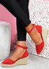Tifa Red Wedges Platform Sandals