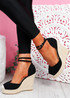 Uty Black High Heel Wedge Sandals