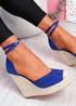 Uty Blue High Heel Wedge Sandals