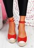 Uty Red High Heel Wedge Sandals