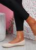 Bono Beige Quilted Flat Ballerinas