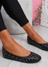 Bono Black Quilted Flat Ballerinas