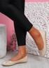 Rono Beige Croc Ballerinas