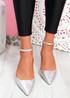 Sivo Silver Stiletto Ankle Strap Pumps