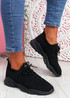 Nilly Black Chunky Knit Sneakers