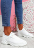 Nilly White Chunky Knit Sneakers