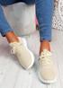 Fovy Beige Knit Running Sneakers