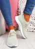 Bany Beige Knit Running Trainers