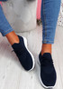 Bany Navy Knit Running Trainers
