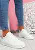 Zowe White Light Grey Studded Trainers