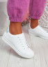 Fone White Silver Lace Up Trainers