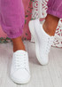 Fone White Gold Lace Up Trainers