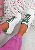 Fone White Green Lace Up Trainers