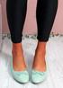 Nimey Light Green Bow Flat Ballerinas