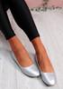 Boddy Silver Slip On Ballerinas