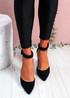 Pofa Black High Block Heel Pumps