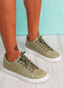 Ronno Green Croc Pattern Trainers