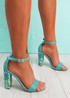 Uppo Blue Multicolor Block Heel Sandals